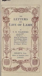 Cover of: The letters and life of lamb: With an introd. by R. Brimley Johnson.