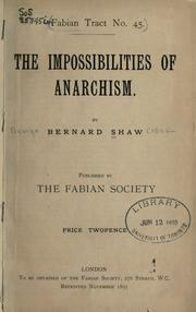 Cover of: The impossibilities of anarchism
