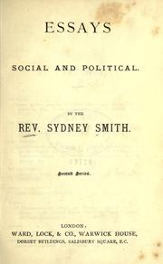 Cover of: Essays, social and political. Second series