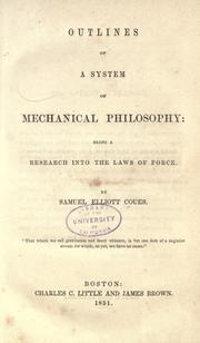 Cover of: Outlines of a system of mechanical philosophy