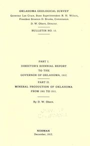 Cover of: Part I. Director's biennial report to the governor of Oklahoma, 1912