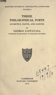 Three philosophical poets by Santayana, George