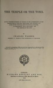 Cover of: The temple or the tomb | Warren, Charles Sir