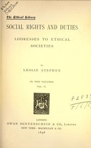 Cover of: Social rights and duties