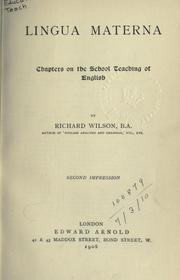Cover of: Lingua materna, chapters on the school teaching of English