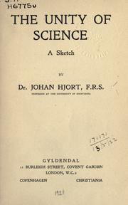 Cover of: The unity of science