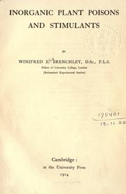 Inorganic plant poisons and stimulants by Winifred Elsie Brenchley