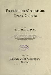 Cover of: Foundations of American grape culture