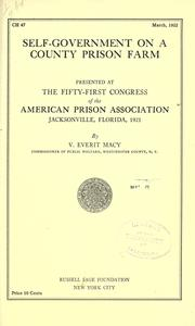 Cover of: Self-government on a county prison farm