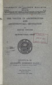 Cover of: The volute in architecture and architectural decoration