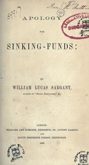 Apology for sinking-funds by William Lucas Sargant