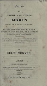 Cover of: An English and Hebrew lexicon