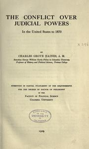 Cover of: The confict over judicial powers in the United States to 1870 ..