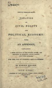 Cover of: A treatise on civil polity and political economy
