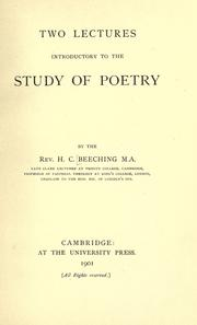Cover of: Two lectures introductory to the study of poetry | H. C. Beeching