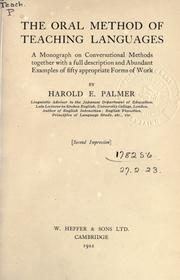 Cover of: The oral method of teaching languages | Palmer, Harold E.