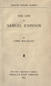 Cover of: Life of Samuel Johnson
