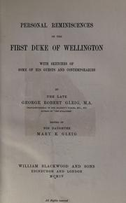 Cover of: Personal reminiscences of the first Duke of Wellington