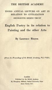Cover of: English poetry in its relation to painting and the other arts