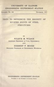 Cover of: Tests to determine the rigidity of riveted joints of steel structures