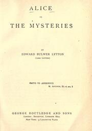 Cover of: Alice: or, the mysteries