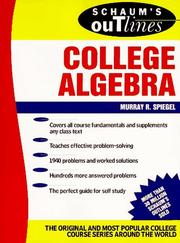 Cover of: Schaum's Outline of Theory and Problems of College Algebra (Schaum's Outlines)