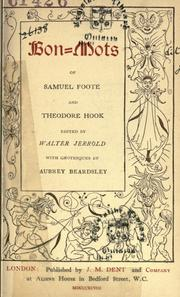 Cover of: Bon-mots of Samuel Foote and Theodore Hook