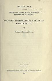 Cover of: Written examinations and their improvement