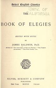 Cover of: The book of elegies