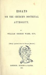 Cover of: Essays on the Church's doctrinal authority
