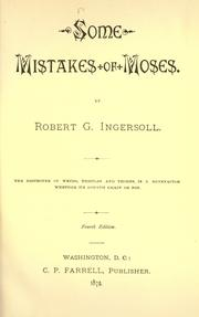 Cover of: Some Mistakes of Moses