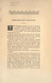 Cover of: A memorial Lincoln bibliography
