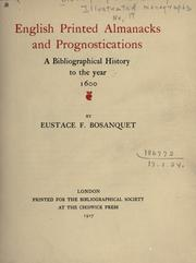 Cover of: English printed almanacks and prognostications | Eustace Fulcrand Bosanquet
