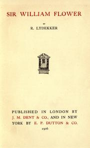 Cover of: Sir William Flower
