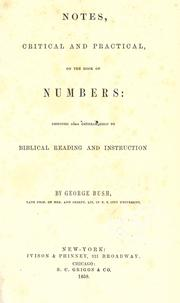 Cover of: Notes, critical and practical, on the book of Numbers