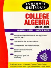 Cover of: Schaum's outline of theory and problems of college algebra