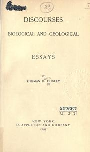 Cover of: Discourses biological and geological