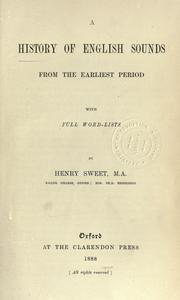 Cover of: A history of English sounds from the earliest period, with full word-lists