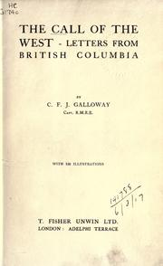 The call of the West by C. F. J. Galloway