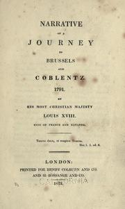 Cover of: Narrative of a journey to Brussels and Coblentz, 1791
