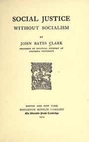 Cover of: Social justice without socialism