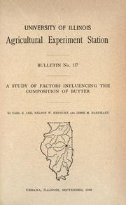 Cover of: A study of factors influencing the composition of butter