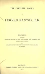 The complete works of Thomas Manton, D.D by Thomas Manton