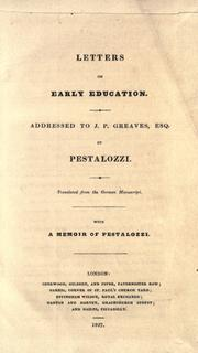 Cover of: Letters on early education