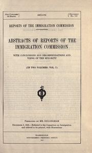Cover of: Reports of the Immigration Commission