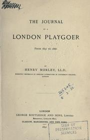 Cover of: The journal of a London playgoer from 1851 to 1866