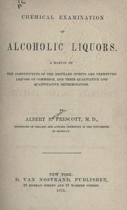 Cover of: Chemical examination of alcoholic liquors