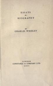 Cover of: Essays in biography
