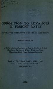 Cover of: Opposition to advances in freight rates
