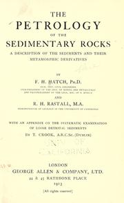 The petrology of the sedimentary rocks by F. H. Hatch